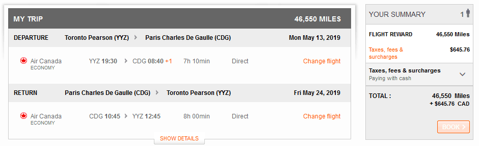Screen capture of what I paid for my Aeroplan vacation, illustrating how many aeroplan miles I needed for the flight