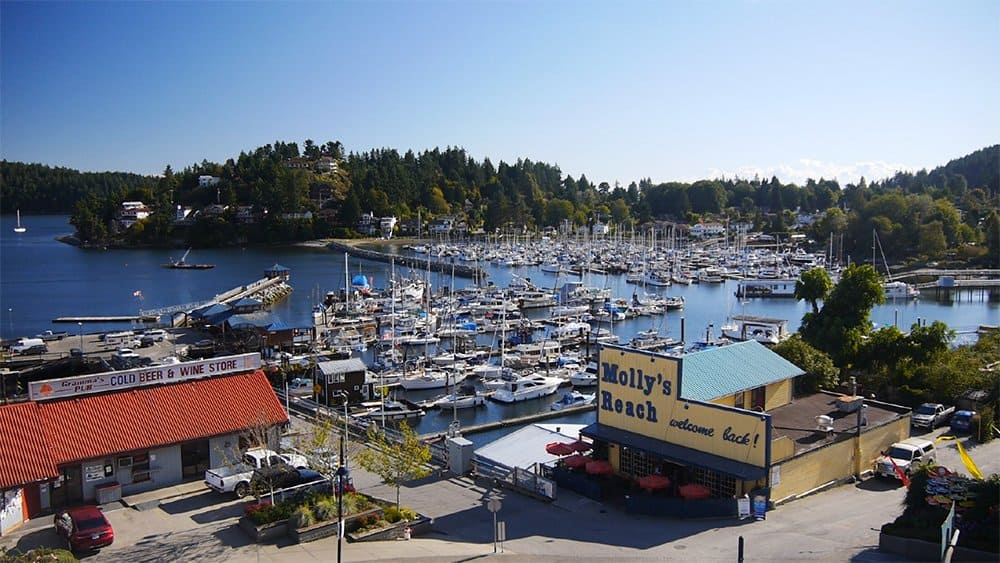 View of Gibson's Landing harbour from the air, best weekend getaways BC