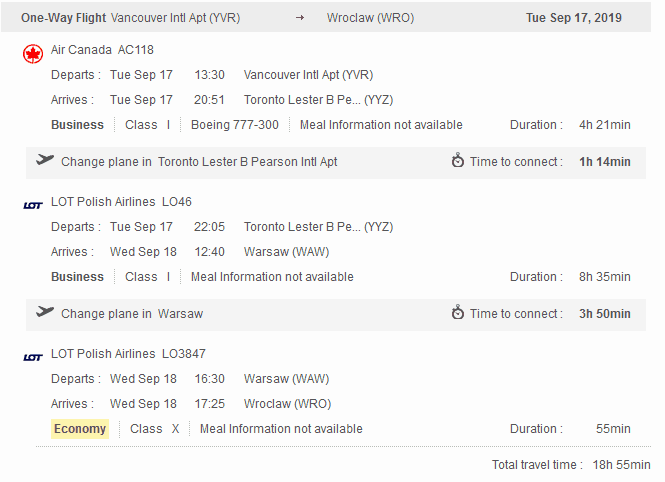 Aeroplan itinerary, showing how many aeroplan miles for a flight to Europe