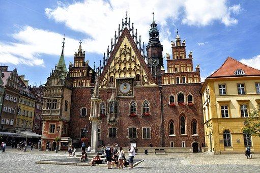 A public square in Wroclaw, Poland