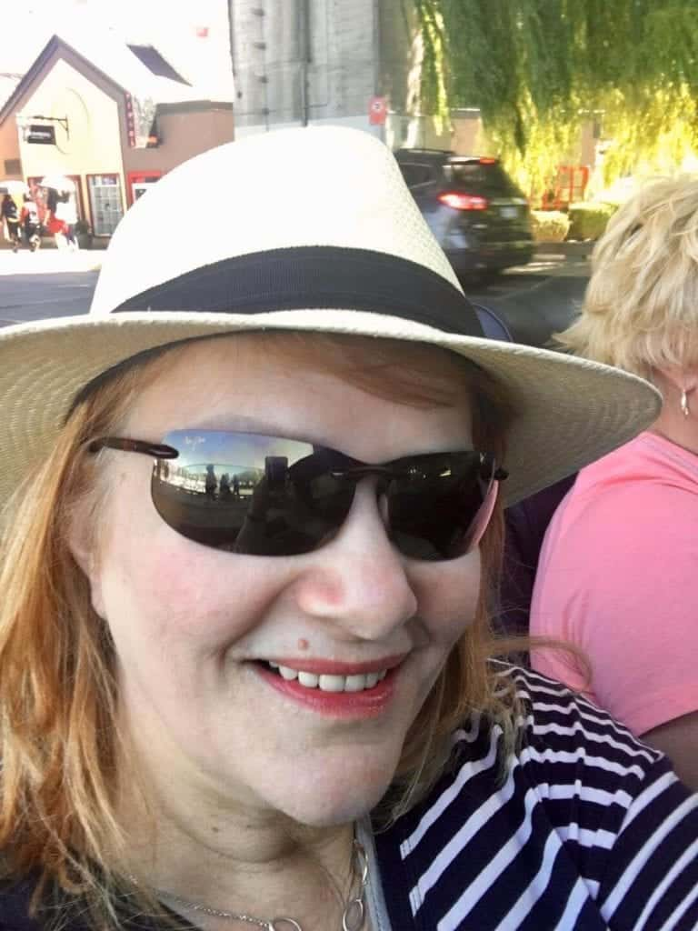 Lesley in a Panama hat - an essential item for your tour of Chichen Itza