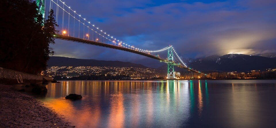 Lions Gate Bridge, Vancouver, at the beginning of the drive to Whistler