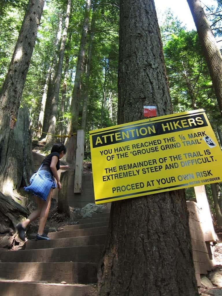 The start of the Grouse Grind in Vancouver