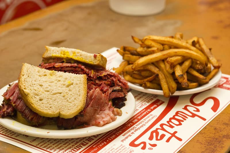 Montreal smoked-meat sandwiches - one of the national dishes of Canada