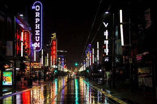 Granville Street pedestrian mall on rainy night