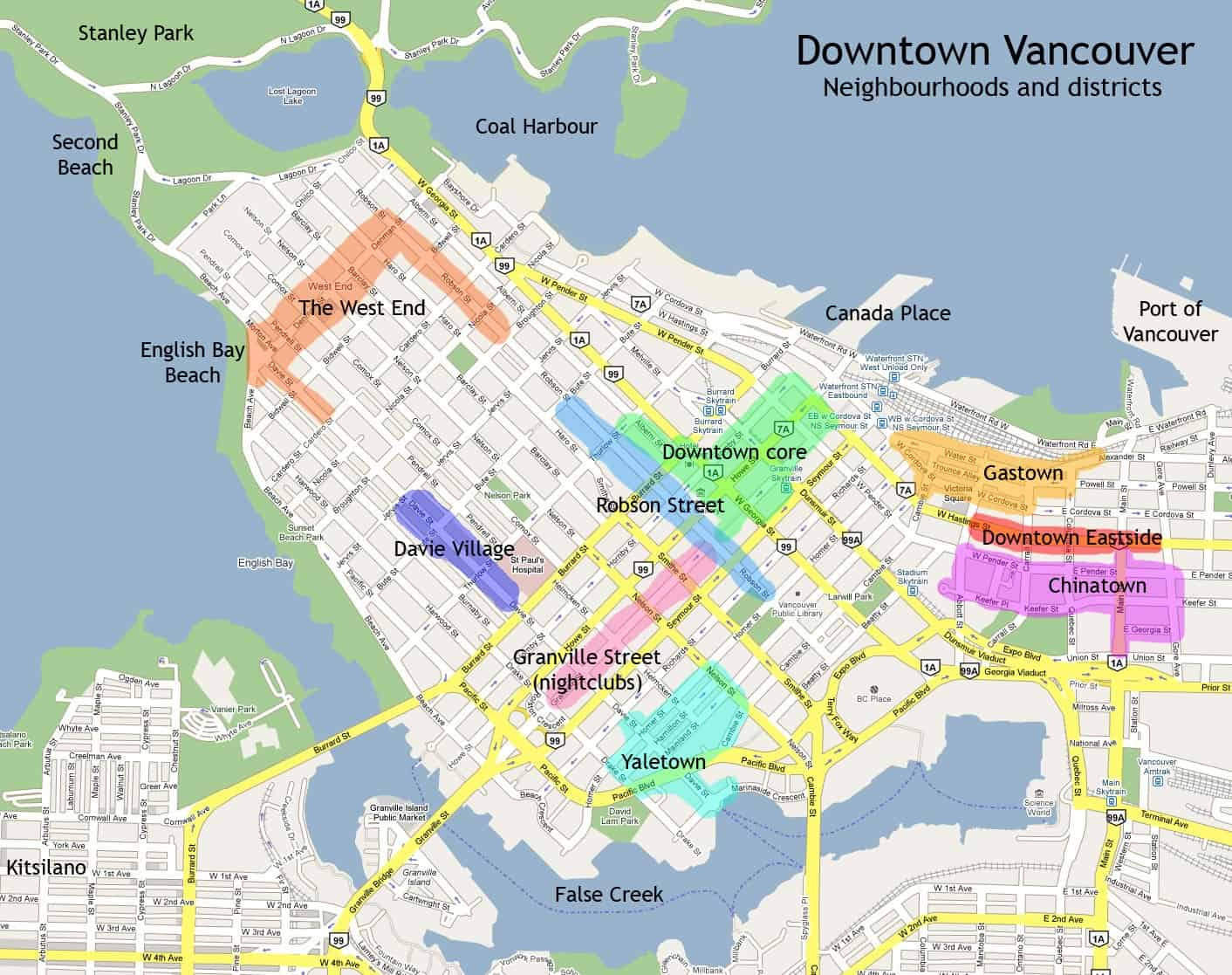 A map of Downtown Vancouver