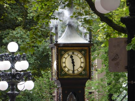 Vancouver's iconic steam clock in Gastown, a landmark when you're deciding where to stay in Vancouver