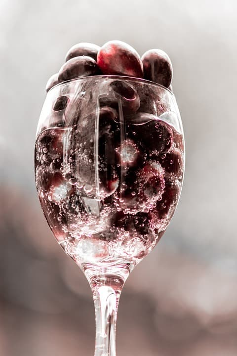 A Glass of frozen grapes, used to produce ice wine, one of the national dishes of Canada