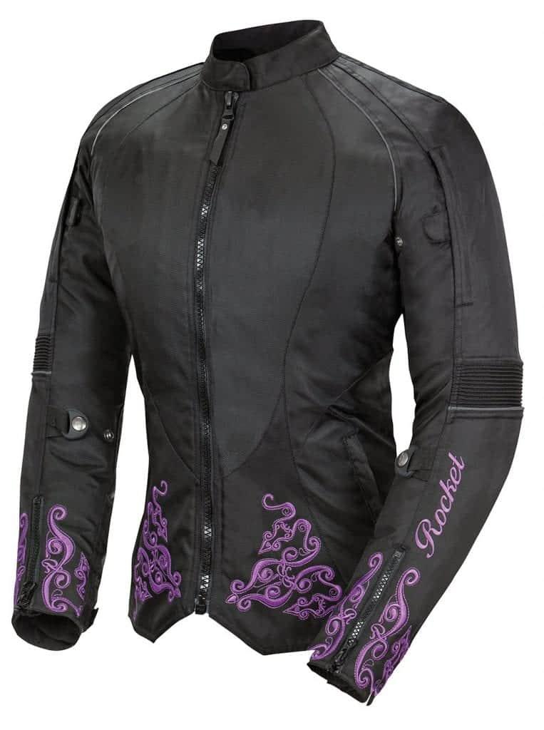 women's motorcycle jacket with purple trim - an essential part of ladies motorbike gear