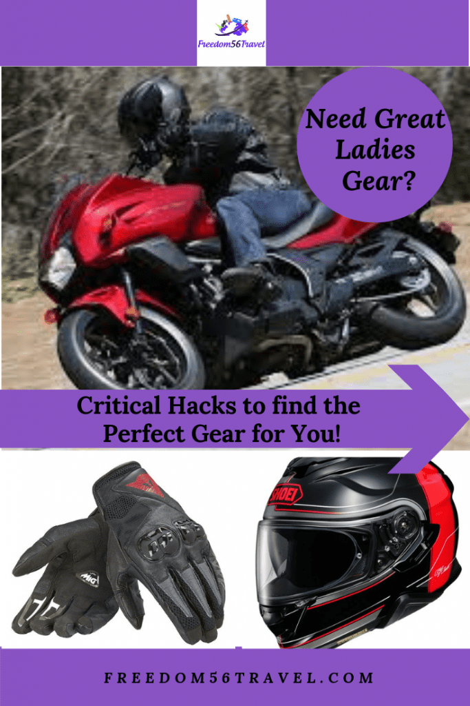 Pinterest image of a woman riding a motorcycle wearing ladies motorcycle gear