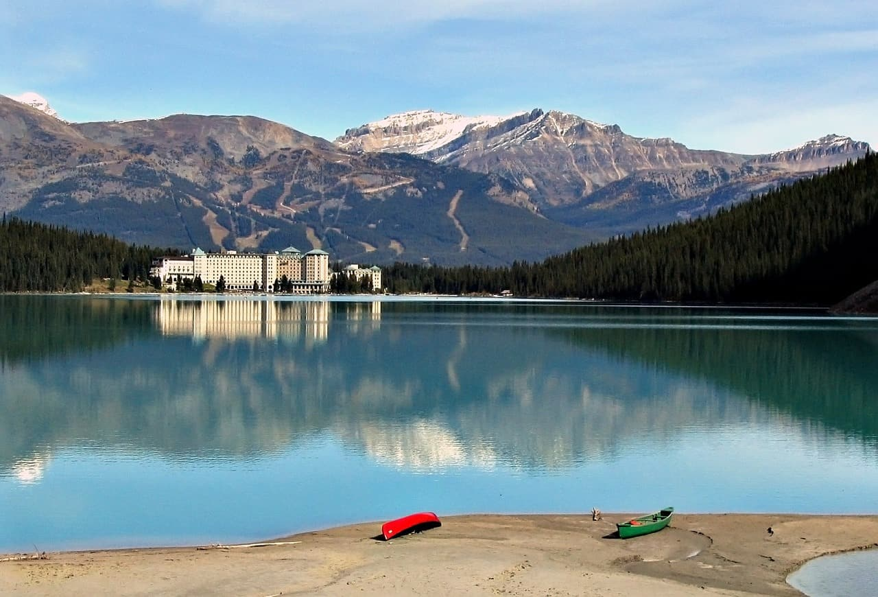 Chateau Lake Louise, in Canada's Rocky Mountains, a sight on your Vancouver to Banff bus tour