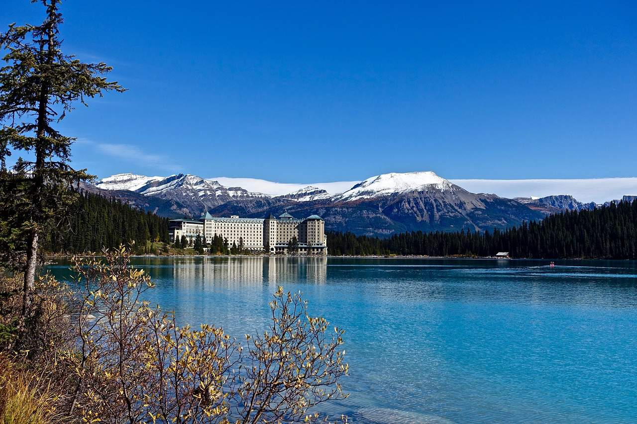 Chateau Lake Louise, as seen from across Lake Louise. A spectacular sight on a Vancouver to Banff drive