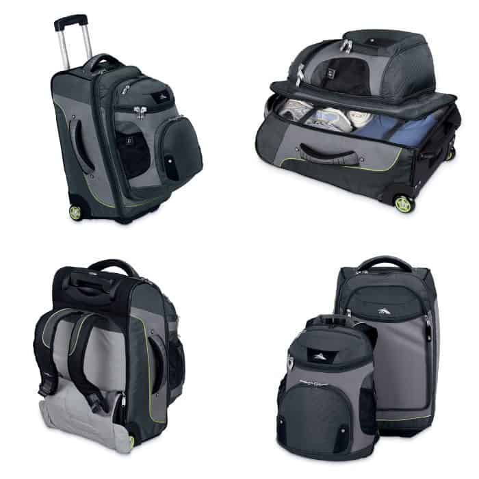 photo collage of some great wheelie backpacks, suitcase backpack