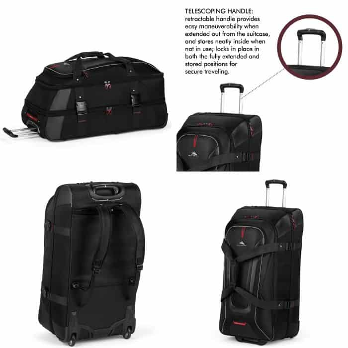 Photo collage of High Sierra AT7 wheeled duffel backpack, wheeled backpack