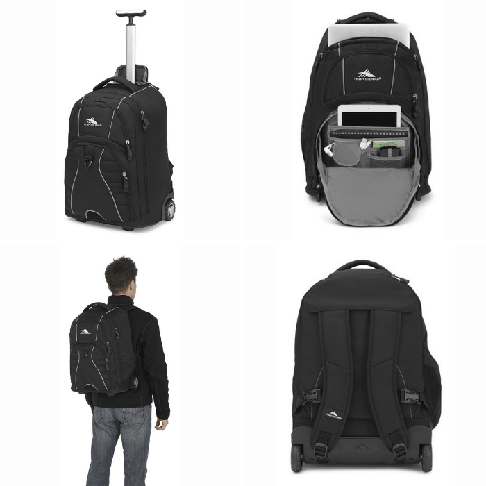 photo collage of a great wheeled computer bag