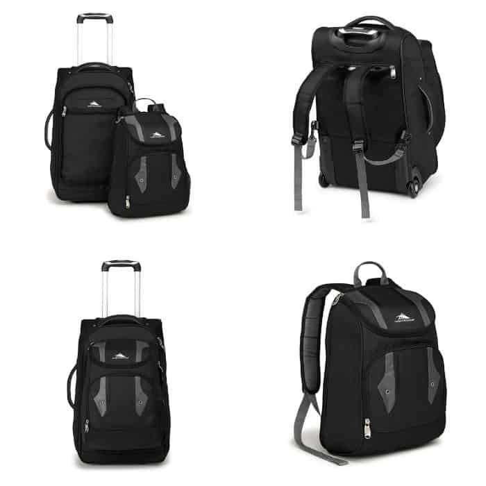 photo collage of some great wheeled rucksacks