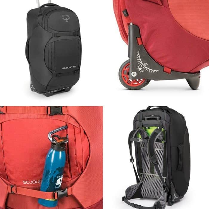 photo collage of luxury backpacks and suitcase backpack