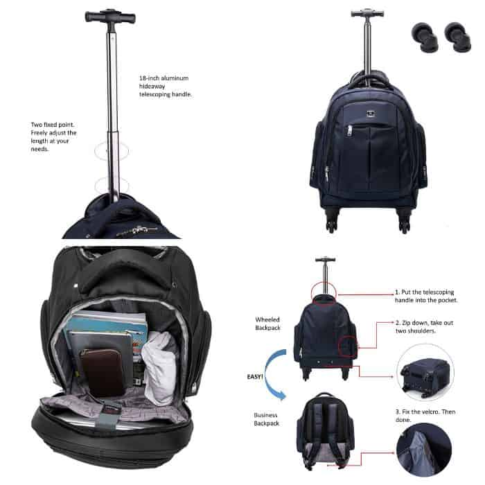 photo collage of best wheeled bags