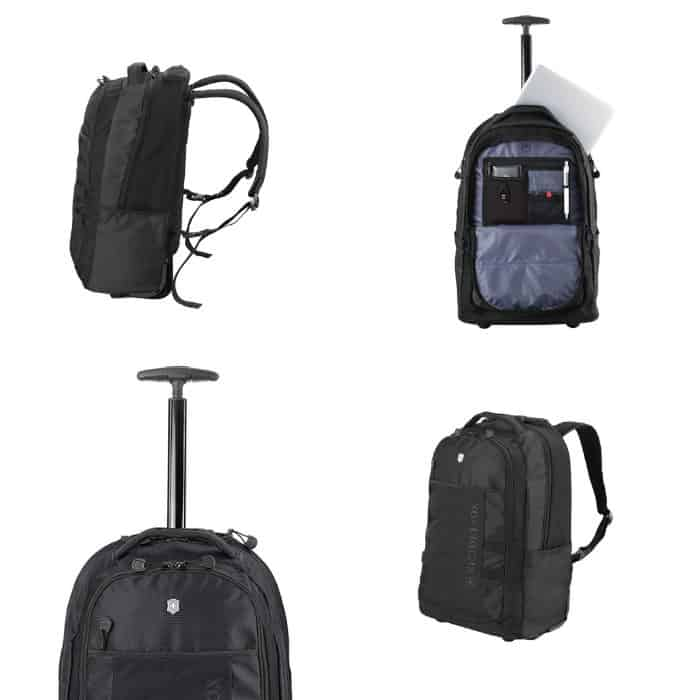photo collage of best backpack on wheels for travel