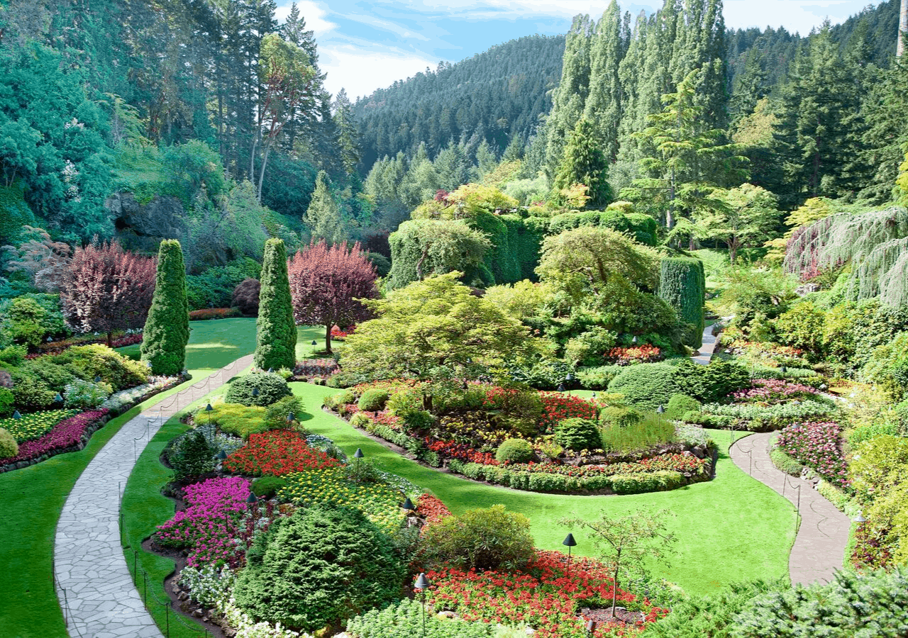 Beautiful Butchart Gardens, close to one of romantic resorts on Vancouver Island
