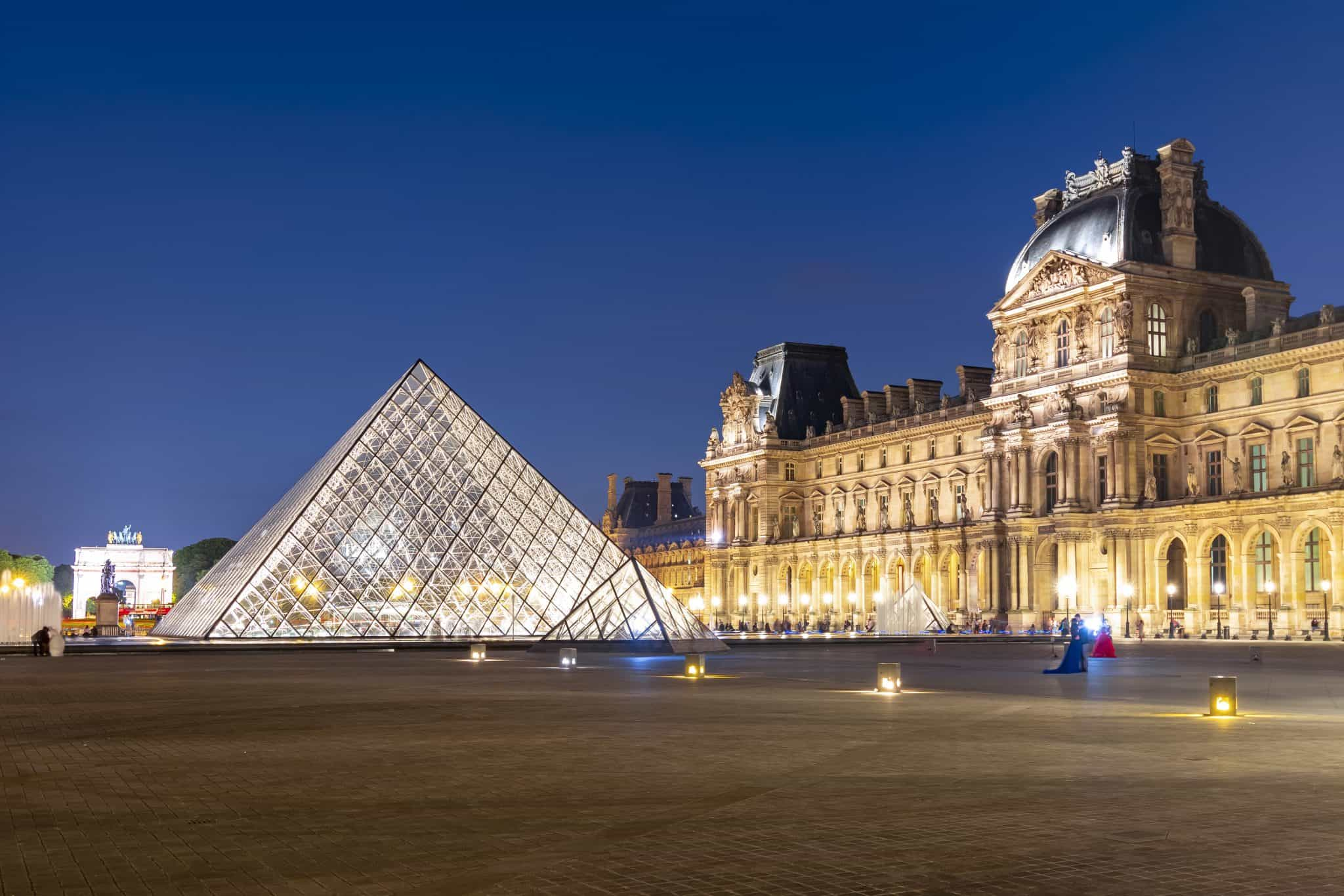 The Pyramid at the Louvre at Night - where to go in Paris for 4 days
