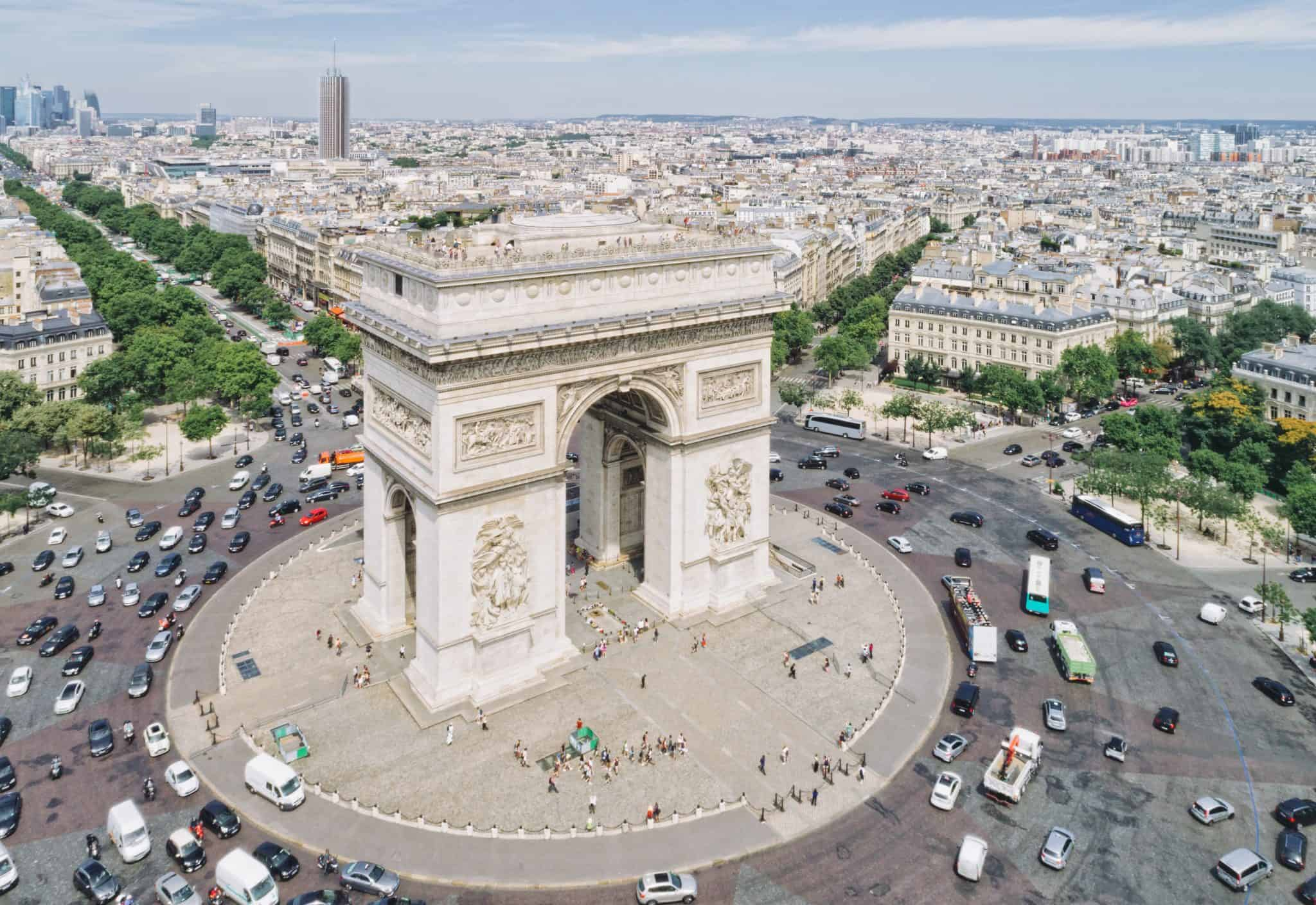 Traffic around the Arc de Triomphe in Paris - a stunning sight for a first visit to Paris