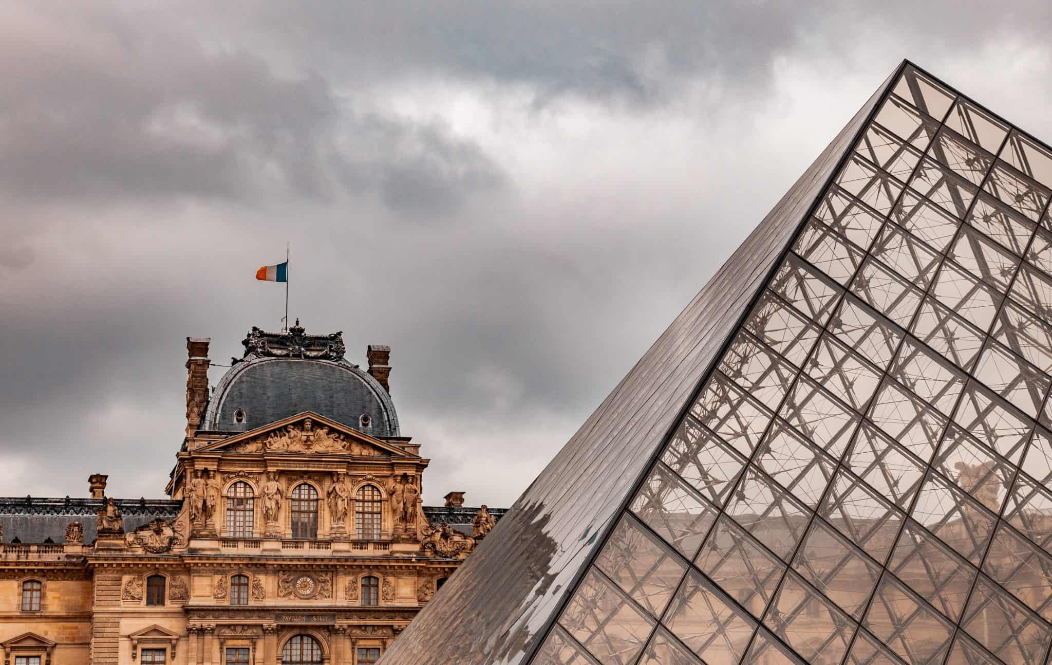A beautiful view of the Louvre Pyramid in Paris