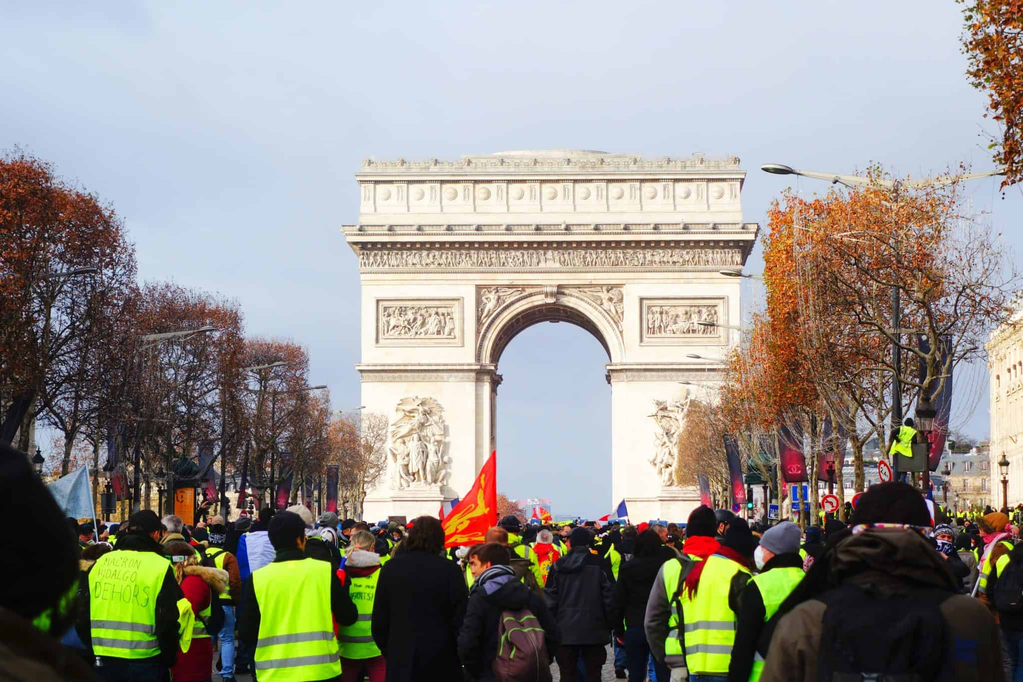 A Yellow-Vest demonstration in Paris - something to watch out for if you're visiting Paris for the first time