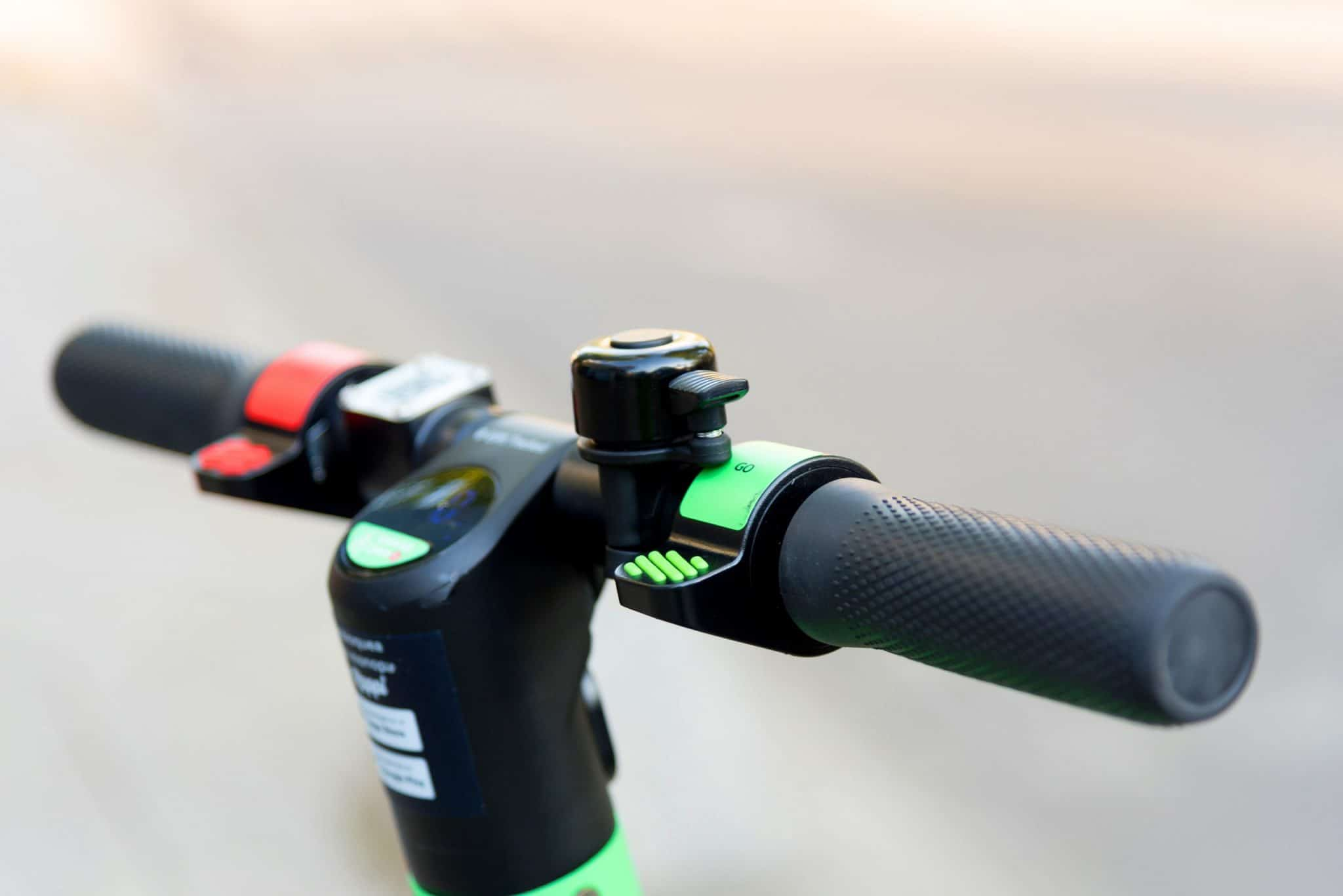 Close up of Lime rental Scooter Handlebar