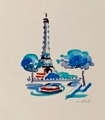 A watercolour of the Eiffel Tower, an inexpensive gifts from Paris