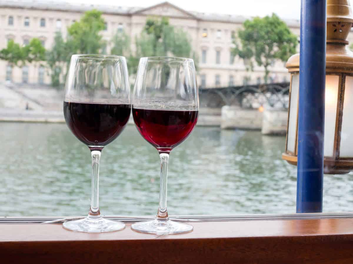 two Glasses on wine with a view of Paris