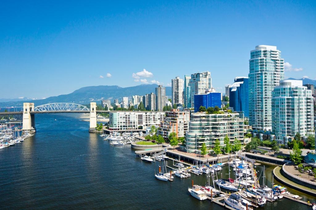 Vancouver, including the Burrard Street Bridge, part of your transportation options during your 48 hours in Vancouver