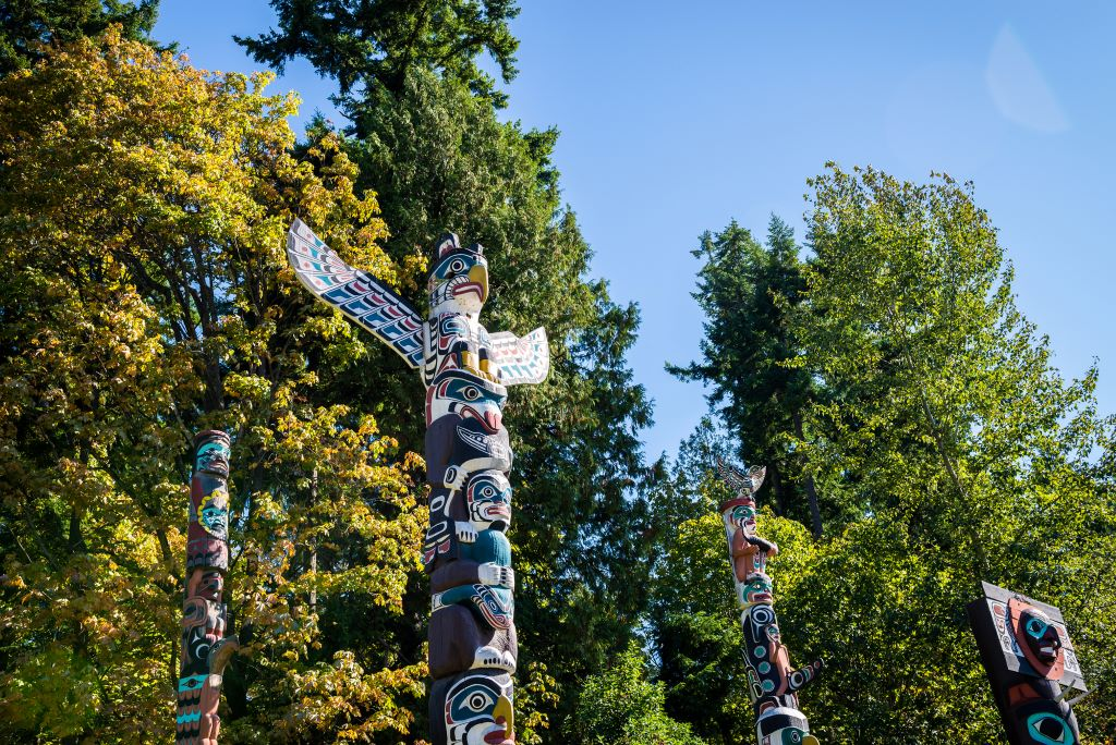 Totem Poles in Stanley Park in Vancouver, part of any great Vancouver 2 day Itinerary
